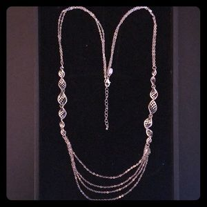 Lia Sophia long silver twist necklace